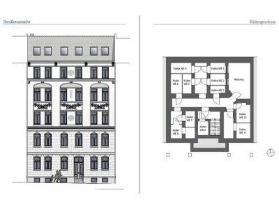 Aussenansicht und Kellergeschoss-Grundriss