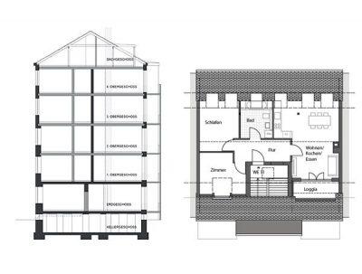 Schnitt und Dachgeschoss