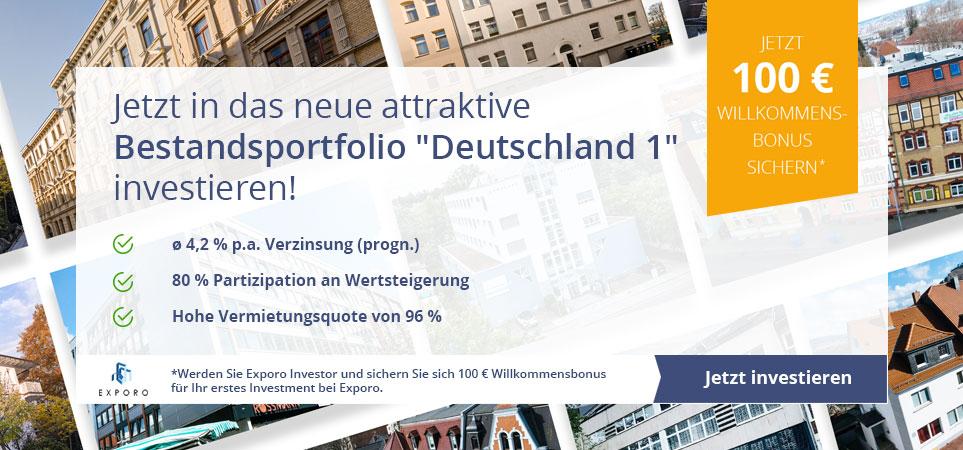 Jetzt in das neue attraktive Bestandsportfolio Deutschland 1 investieren und 100 € Willkommensbonus von Exporo sichern.